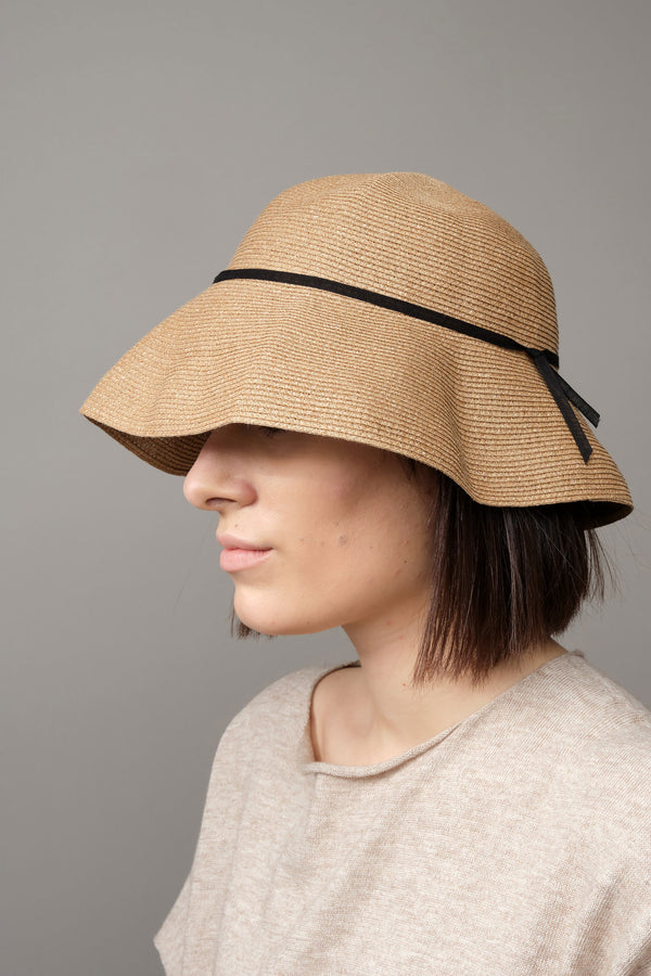Low Wide Paper Linen Braid Hat Mature Ha.