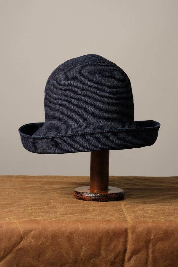Wide Paper Linen Braid Hat in indigo