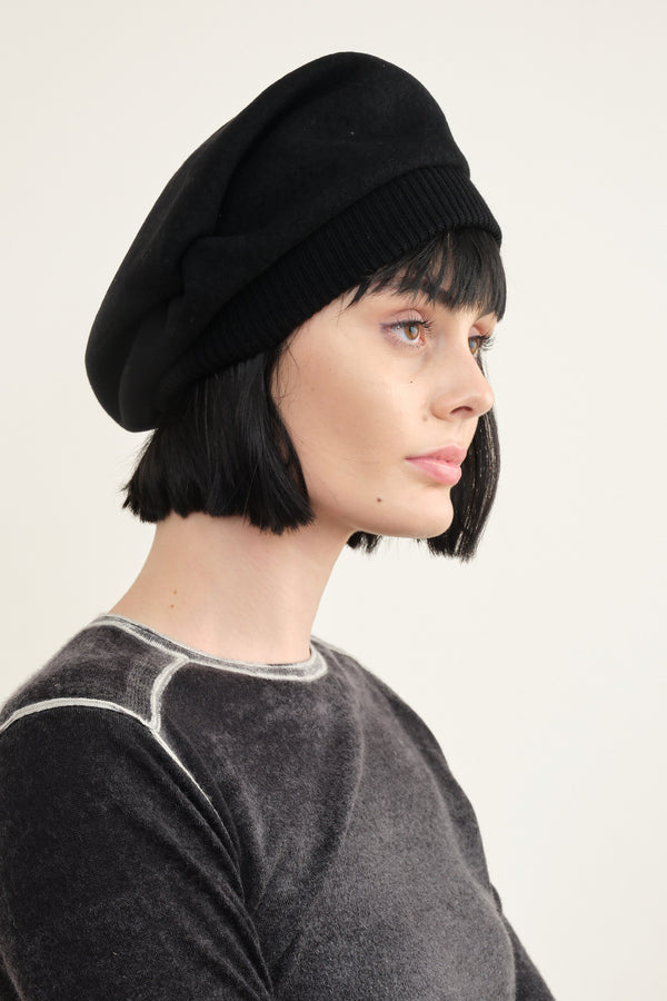 Mature Ha. Tuck and Gather Rib Beret