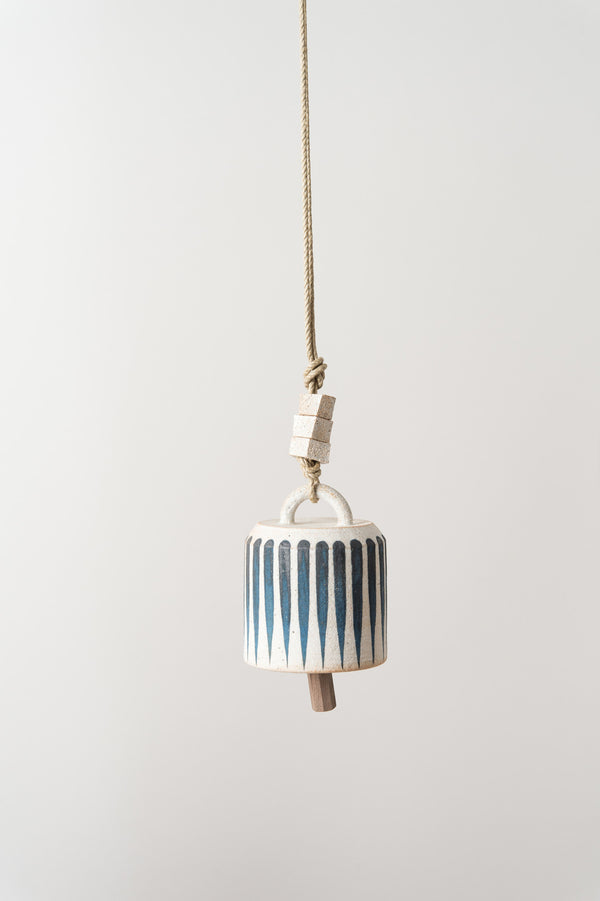 Small Wide Thrown Bell In Indigo Stripe