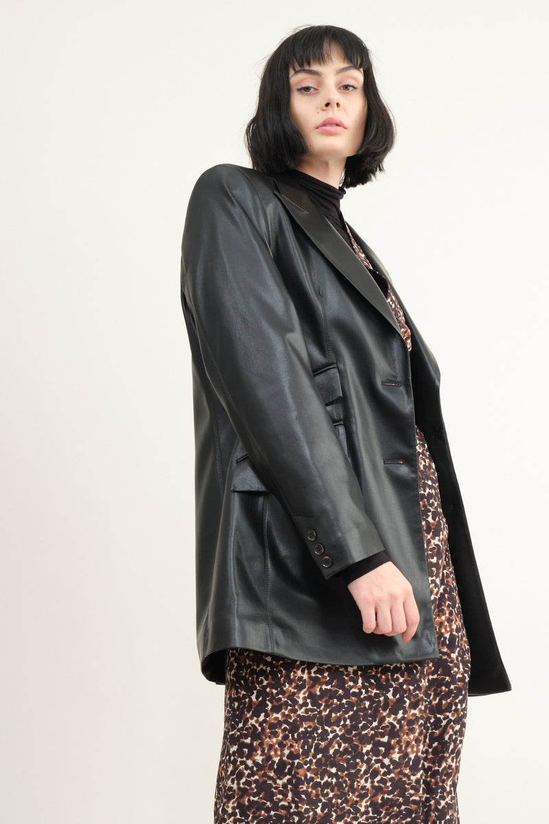 Nanushka cancun vegan leather blazer