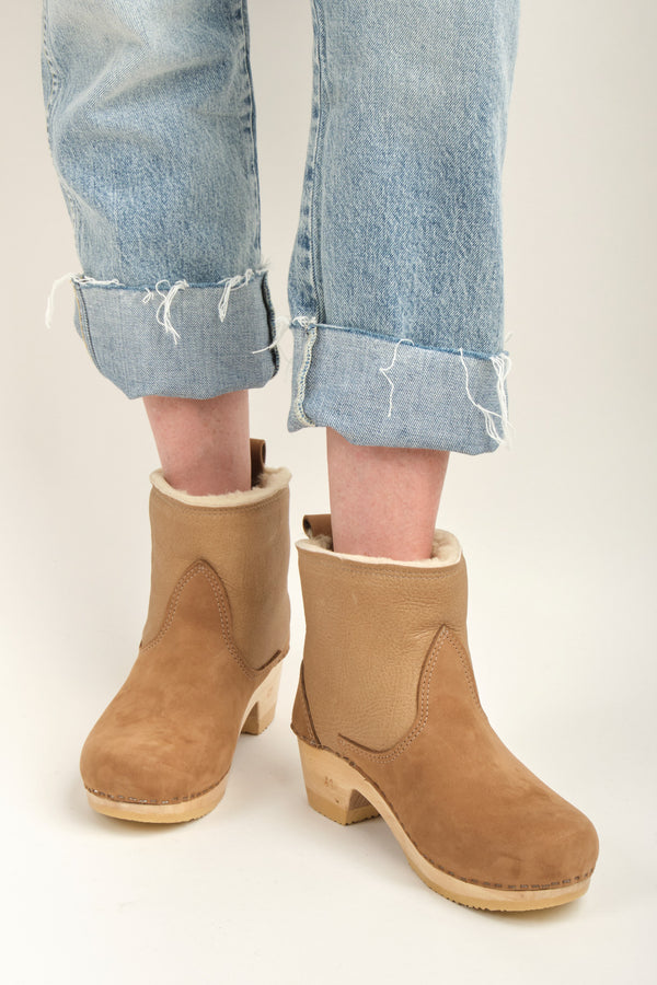 "No. 6 5"" Pull on Shearling Clog Boot on Mid Heel Honey Aviator"