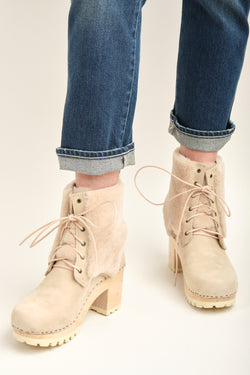 No. 6 Audubon Shearling Lace Up Clog Boot on High Tread