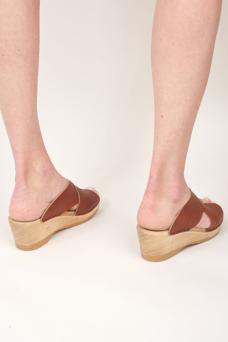 No. 6 Frida Clog on Mid Wedge Brown Leather