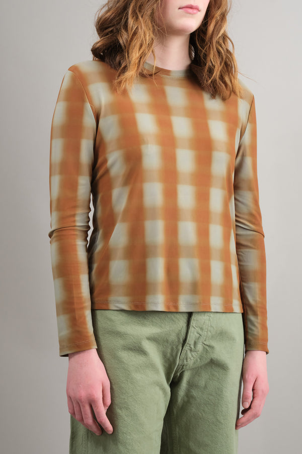 Kim Top in Bronze Blurry Plaid no 6