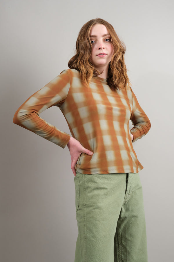 no. 6 clothing Kim Top in Bronze Blurry Plaid