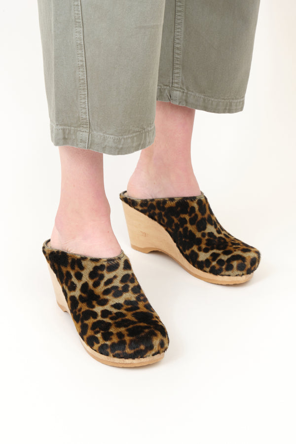 No. 6 New School Clog on Wedge In Camo Leopard Pony