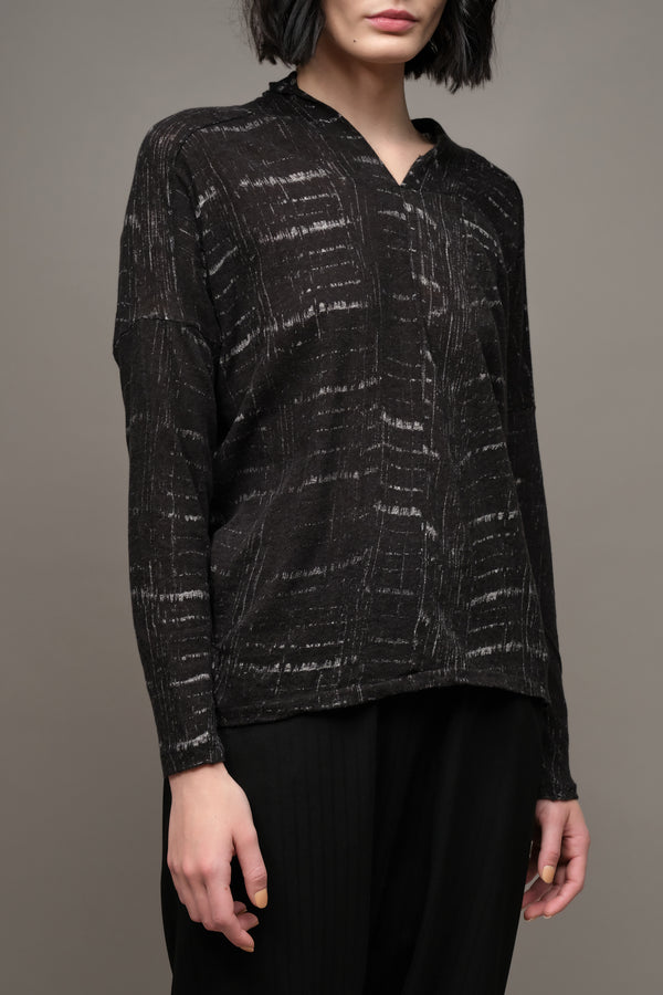 Cotton Pullover in Black Pas De Calais