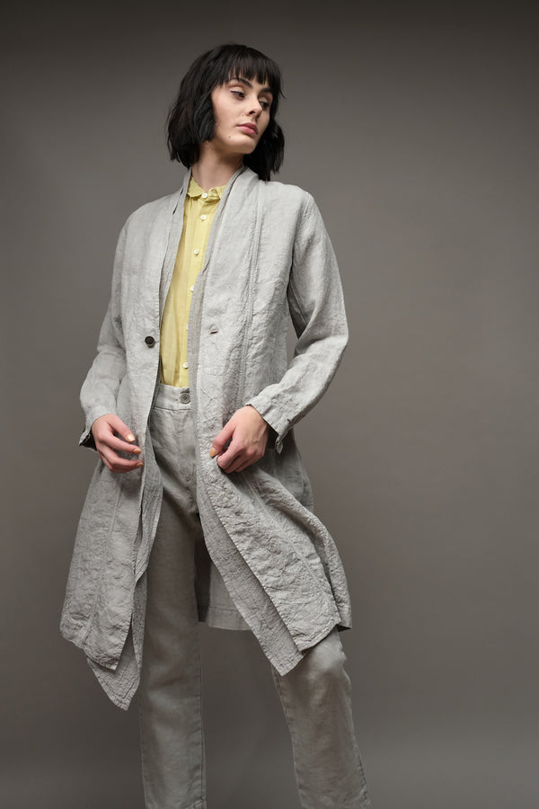 Raw Lapel Linen Coat in Gray Pas De Calais