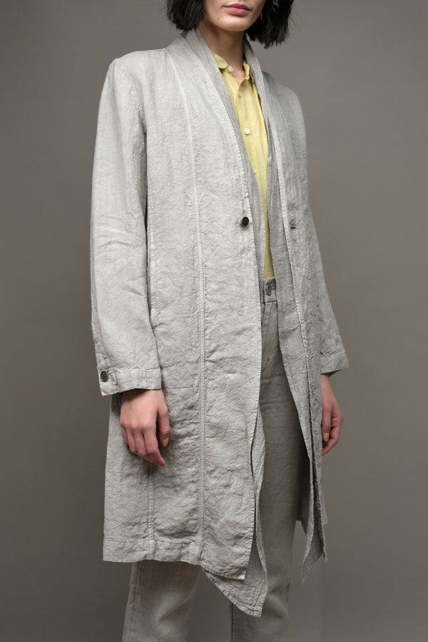 Pas De Calais Raw Lapel Linen Coat in Gray