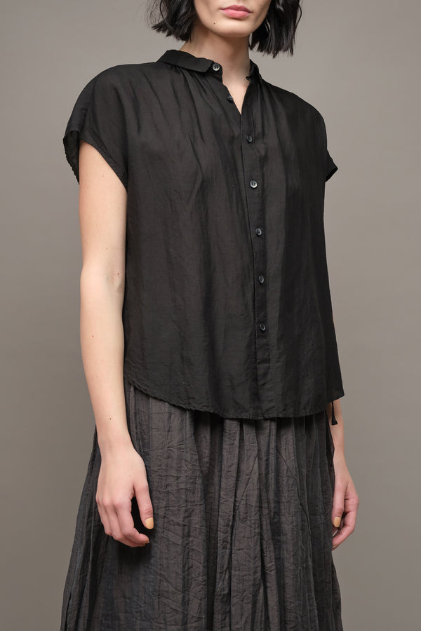 Pas De Calais Recycled Fiber Short Sleeve Blouse in Black