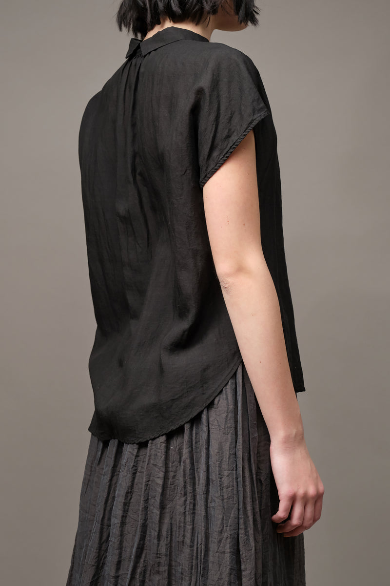 Recycled Fiber Short Sleeve Blouse in Black Pas De Calais