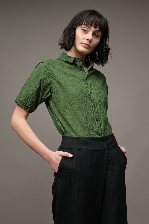 Pas De Calais Wrinkle Finish Short Sleeve Blouse