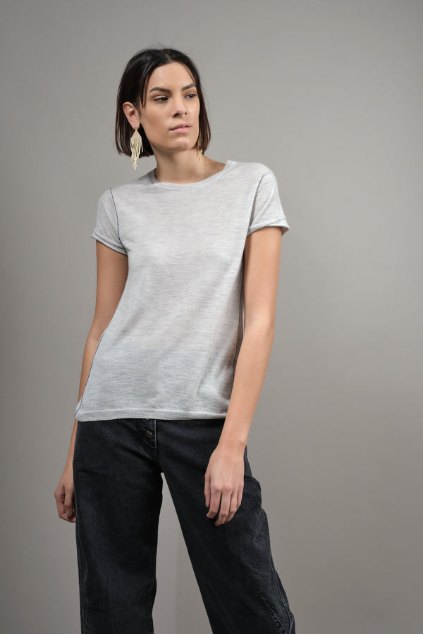 Paychi Guh Baby Tee in Dove Gray