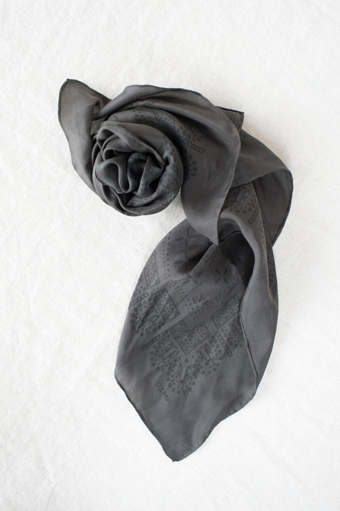 charcoal silk neck scarves