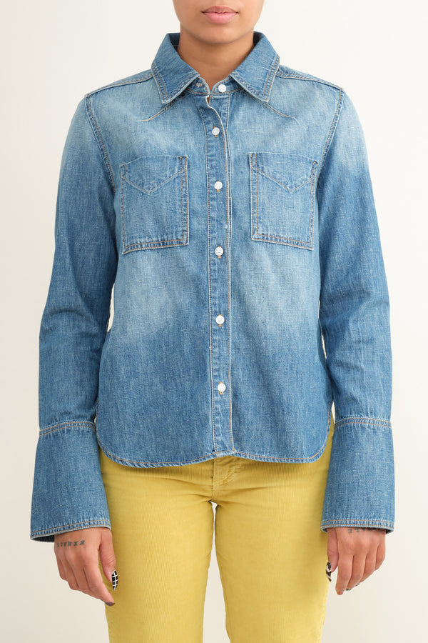 western denim button up trave