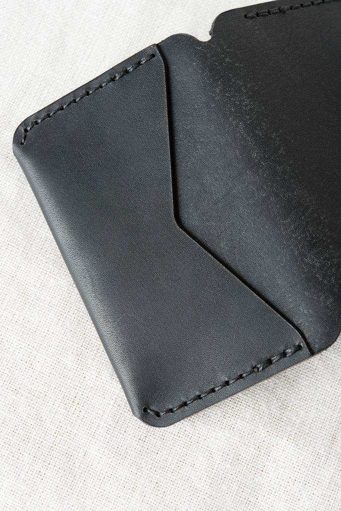 black triple fold wallet