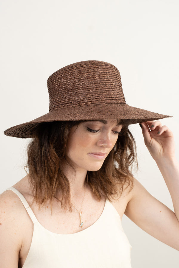 Straw Hat With Neck Shade
