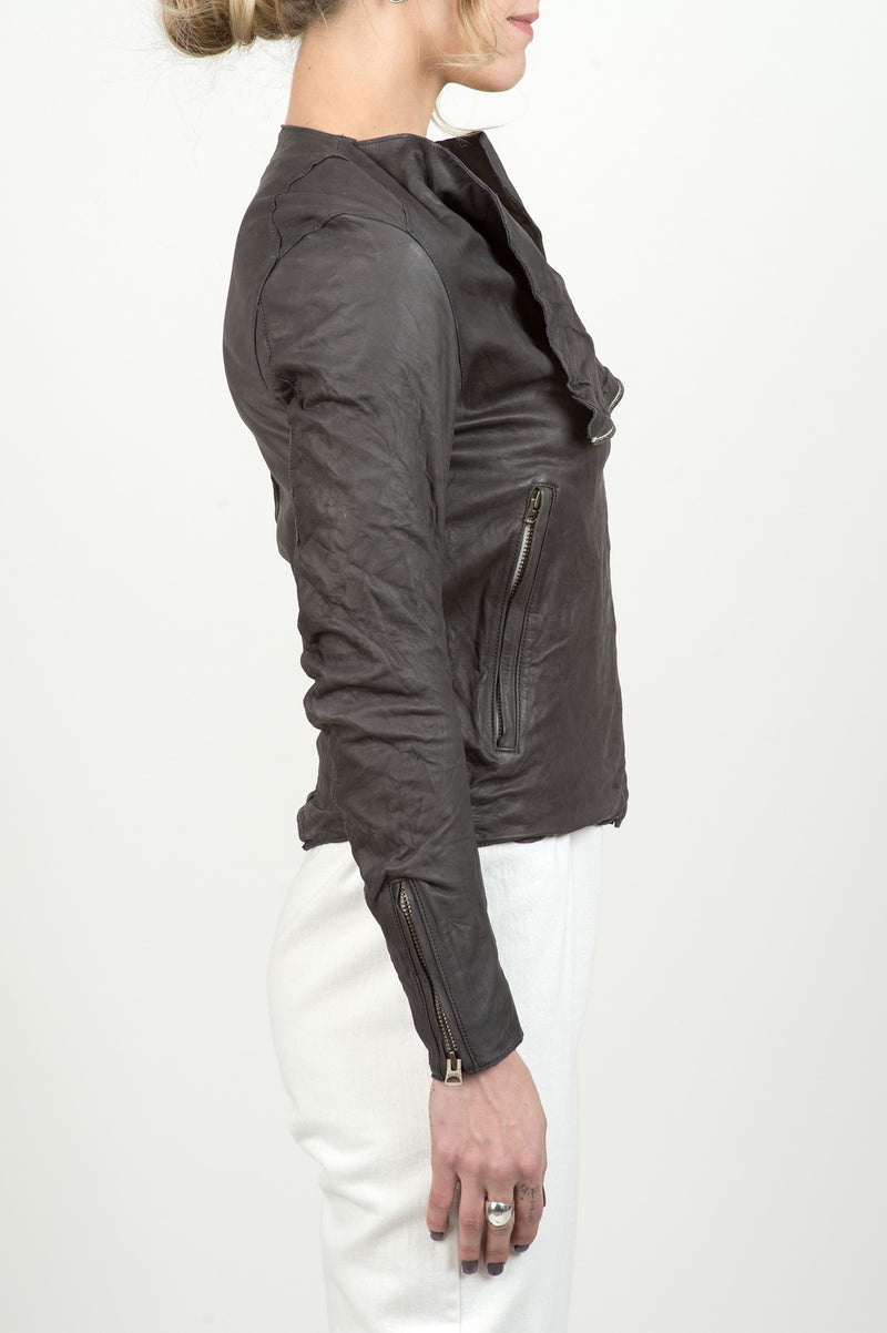 Sisii Grey Leather Jacket