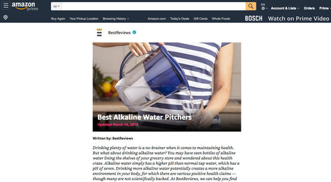 Naples Naturals water pitcher rated best alkaline water pitcher on Amazon