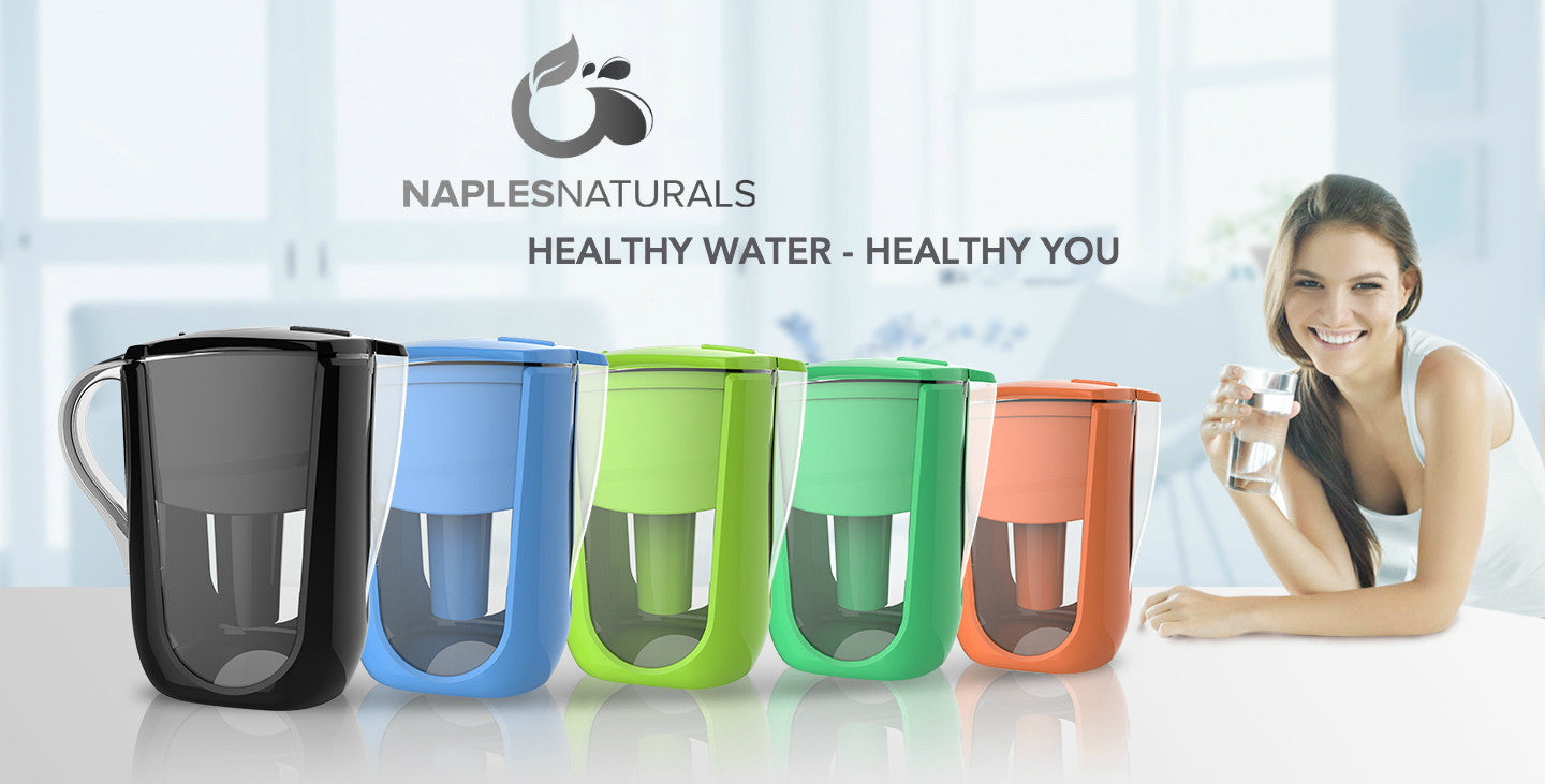 Naples Naturals 10 cup alklaine chlorine fluoride water filter pitcher