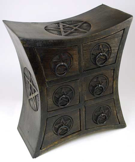 Six Drawer Pentagram Herb Cupboard / Box