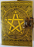 Black & Yellow Pentagram Leather Journal w/latch