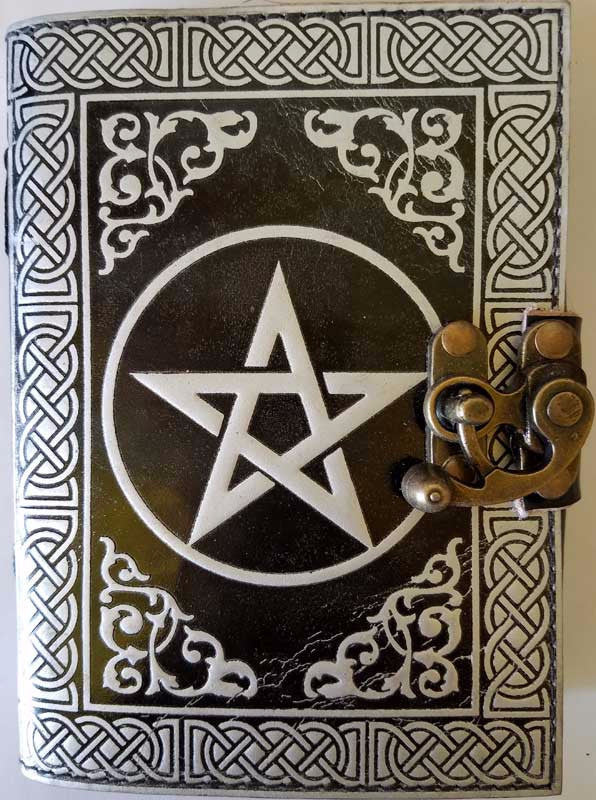 Black & Silver Pentagram Leather Journal w/latch