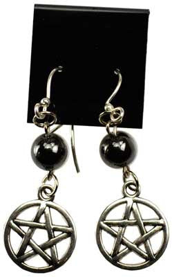Hematite Pentagram Earrings.