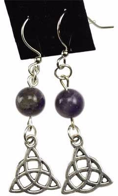 Amethyst Celtic Triquetra Earrings