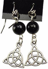 Black Onyx Triquetra Earrings | Pagan Portal