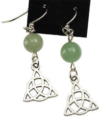 Green Aventurine Triquetra Earrings | Pagan Portal
