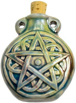 Pentagram Raku Oil Bottle Pendant