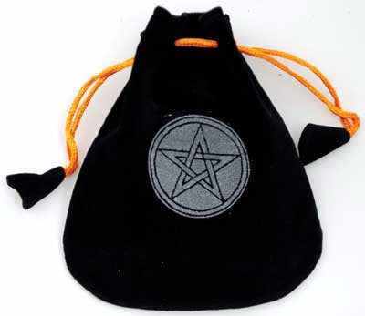 Black Velveteen Bag with Pentagram 5"