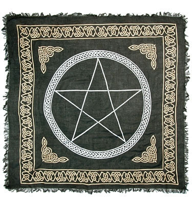 Gold Bordered Pentagram Altar Cloth 36 X 36