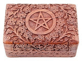Floral Pentagram Hand Carved Box