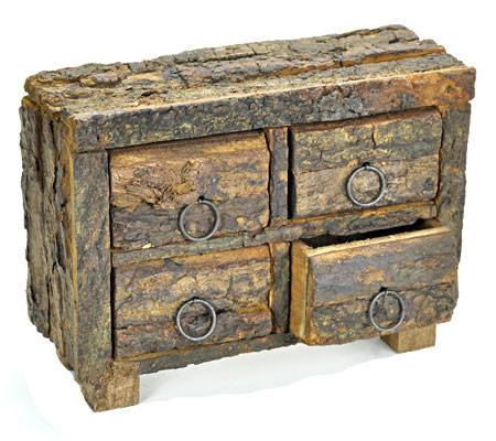 4-DRAWERS WOOD HERB CHEST BOX WITH NATURAL BARK