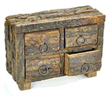 4-DRAWERS WOOD HERB CHEST BOX WITH NATURAL BARK | Pagan Portal