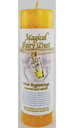 New Beginnings Pillar Candle with Fairy Dust Necklace | AG