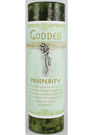Prosperity Pillar Candle with Goddess Necklace