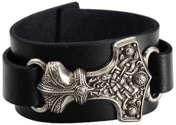 Thors Hammer Leather Wristband - Bracelet