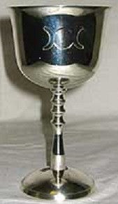 "Silver Plated Triple Goddess Chalice - 5 1/2"" high"