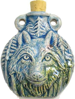 Wolf Raku Oil Bottle Amulet