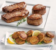 New York Strips & Filet Mignon Combo with Mini Crab Cakes