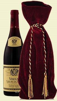 Wrap Art One Bottle Luxury Gift Bag - Red Panne Velvet