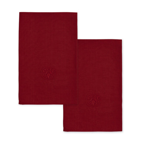 Georg Jensen Damask Plain Linen Napkins, set of 2 in Deep Red