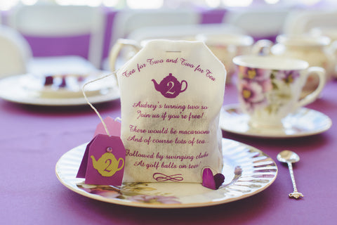 Jumbo Tea Bag Themed Invitation filled with Potpourri