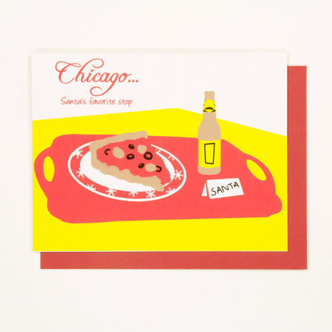 Chicago Deep Dish Pizza - Chicago Christmas Card