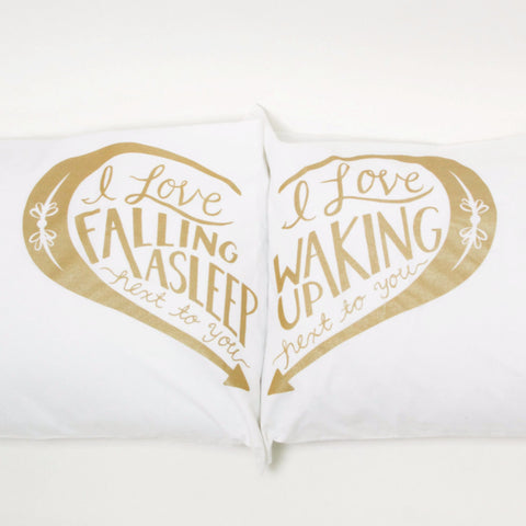 Next to You pillowcases - Gold
