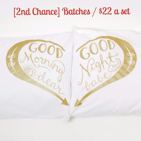 [2nd Chance] Good Morning & Good Night pillowcases - Gold